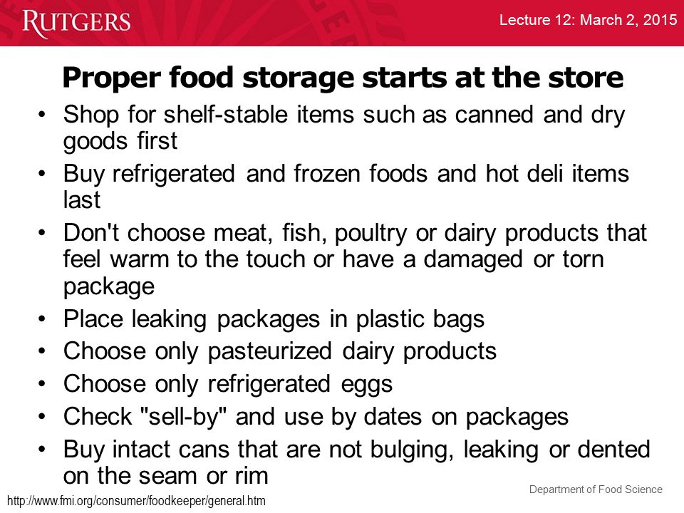 Proper food storage starts at the store