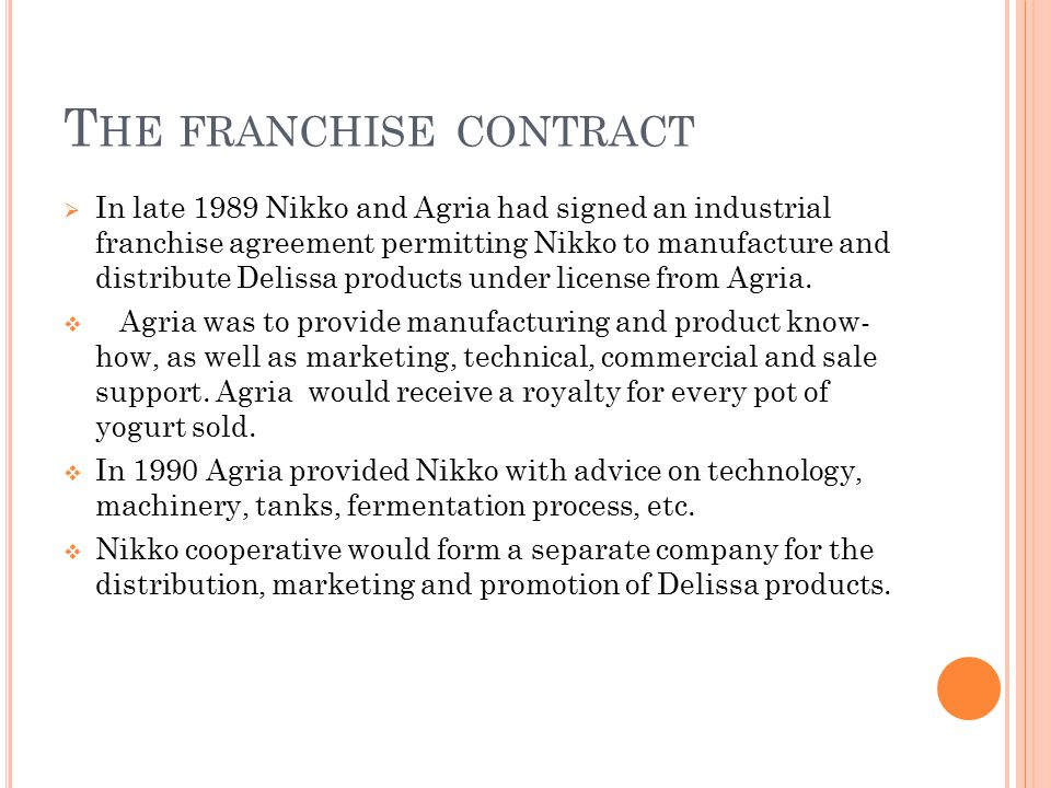 The franchise contract