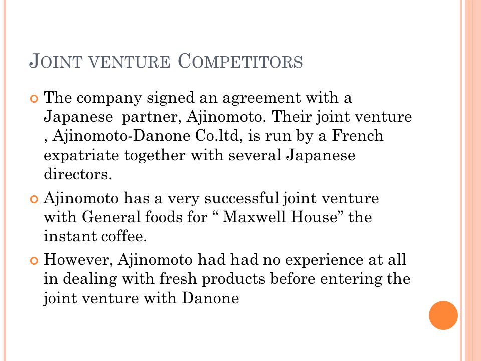 Joint venture Competitors