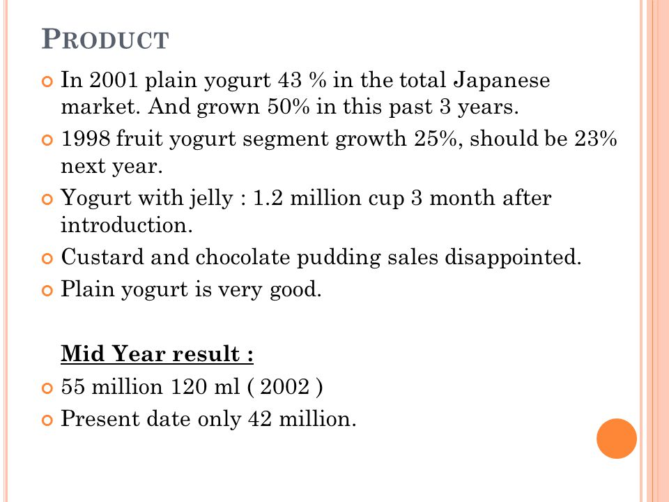Product In 2001 plain yogurt 43 % in the total Japanese market. And grown 50% in this past 3 years.