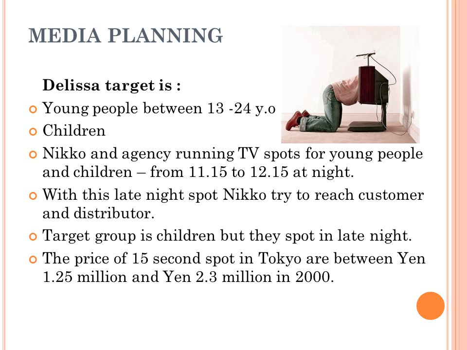 Media Planning Delissa target is : Young people between 13 -24 y.o