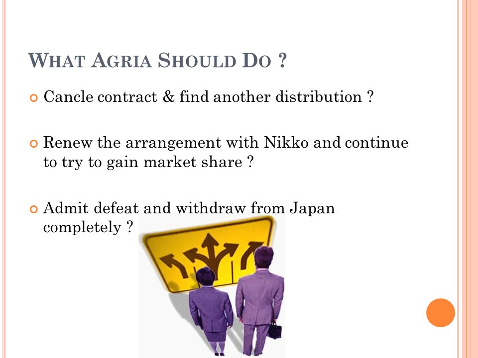 What Agria Should Do Cancle contract & find another distribution