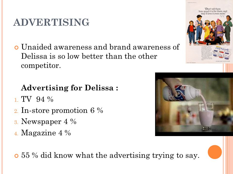 ADVERTISING Unaided awareness and brand awareness of Delissa is so low better than the other competitor.