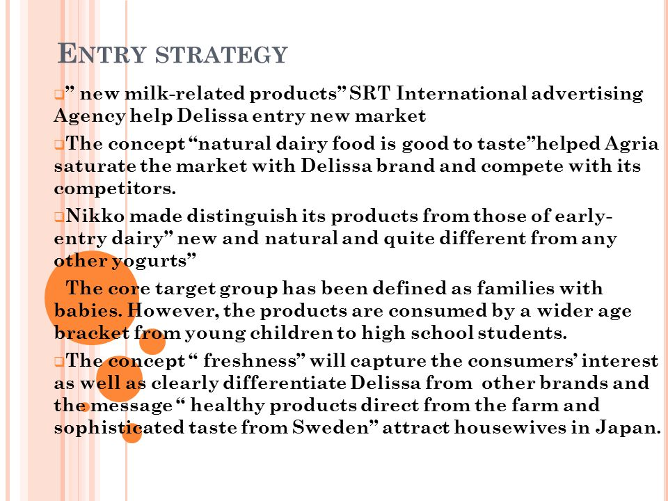 Entry strategy new milk-related products SRT International advertising Agency help Delissa entry new market.