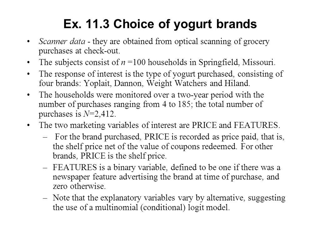 Ex. 11.3 Choice of yogurt brands