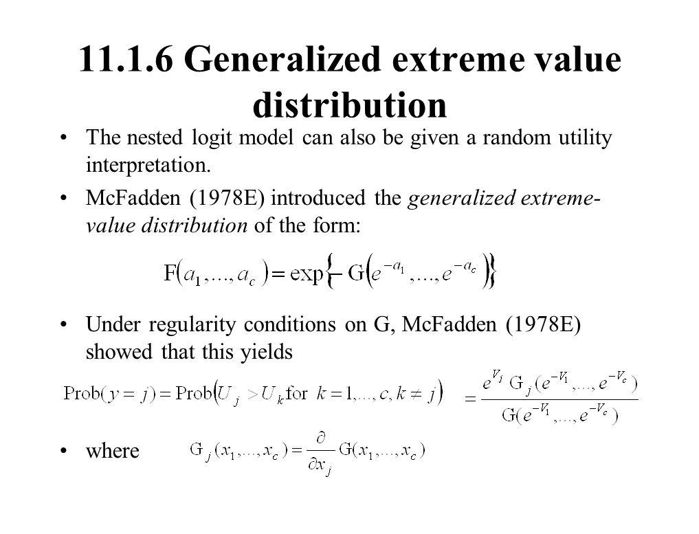 11.1.6 Generalized extreme value distribution