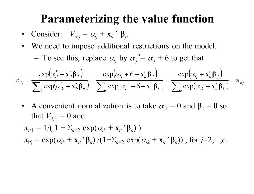 Parameterizing the value function