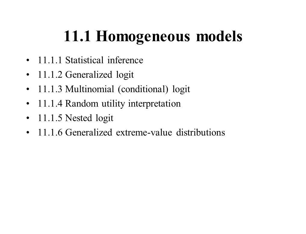 11.1 Homogeneous models 11.1.1 Statistical inference