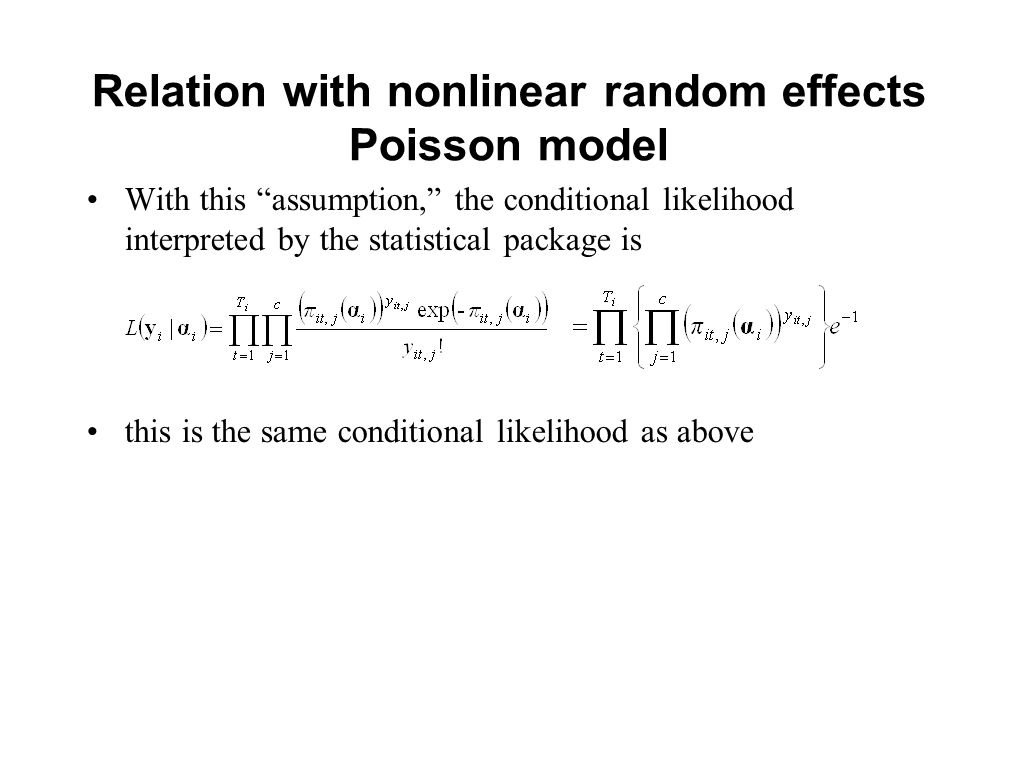 Relation with nonlinear random effects Poisson model