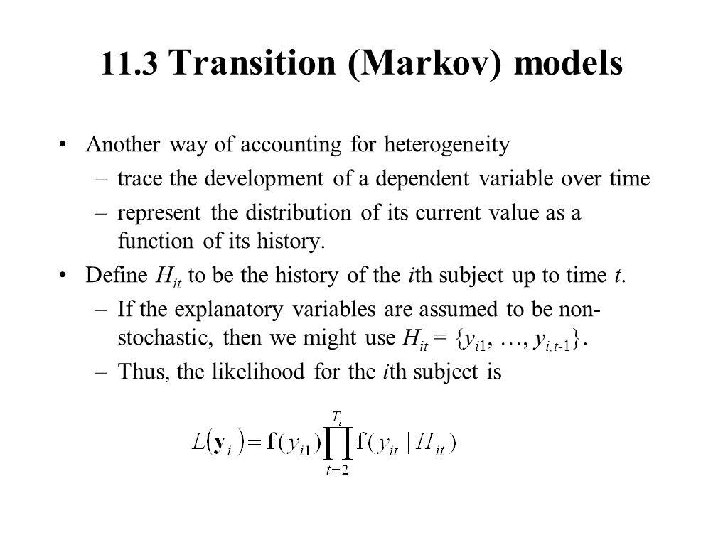 11.3 Transition (Markov) models