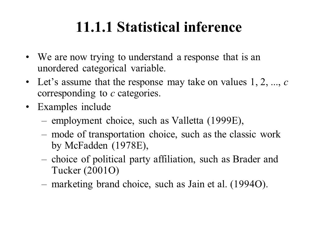 11.1.1 Statistical inference
