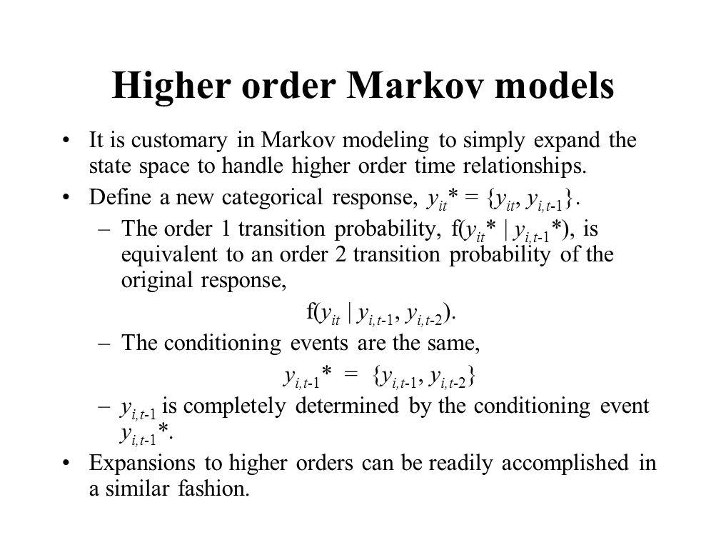 Higher order Markov models