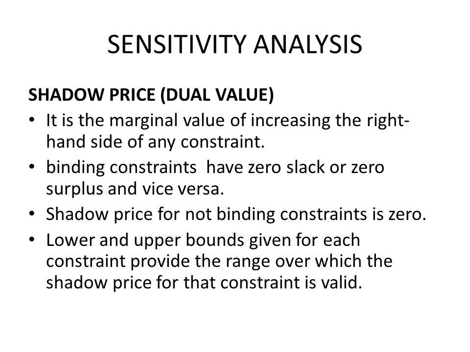 SENSITIVITY ANALYSIS SHADOW PRICE (DUAL VALUE)