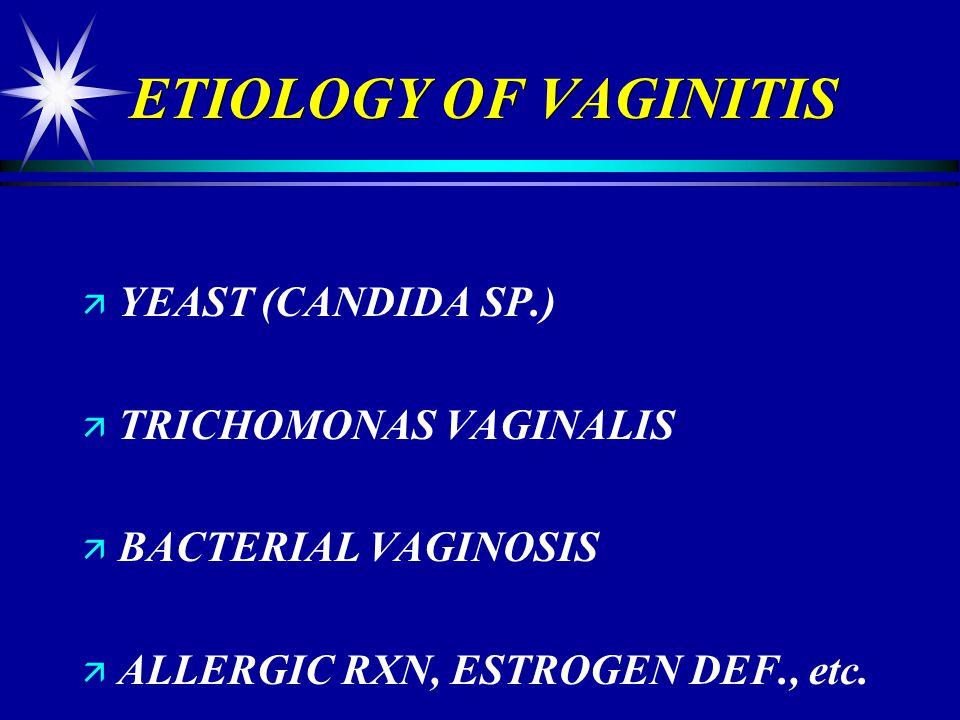 ETIOLOGY OF VAGINITIS YEAST (CANDIDA SP.) TRICHOMONAS VAGINALIS