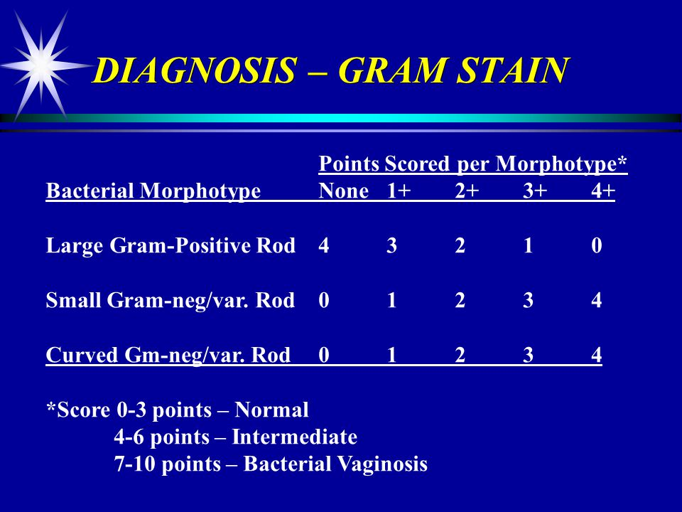 DIAGNOSIS – GRAM STAIN Points Scored per Morphotype*