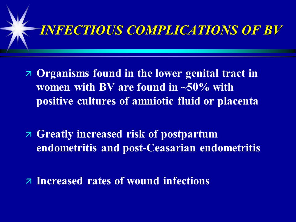 INFECTIOUS COMPLICATIONS OF BV