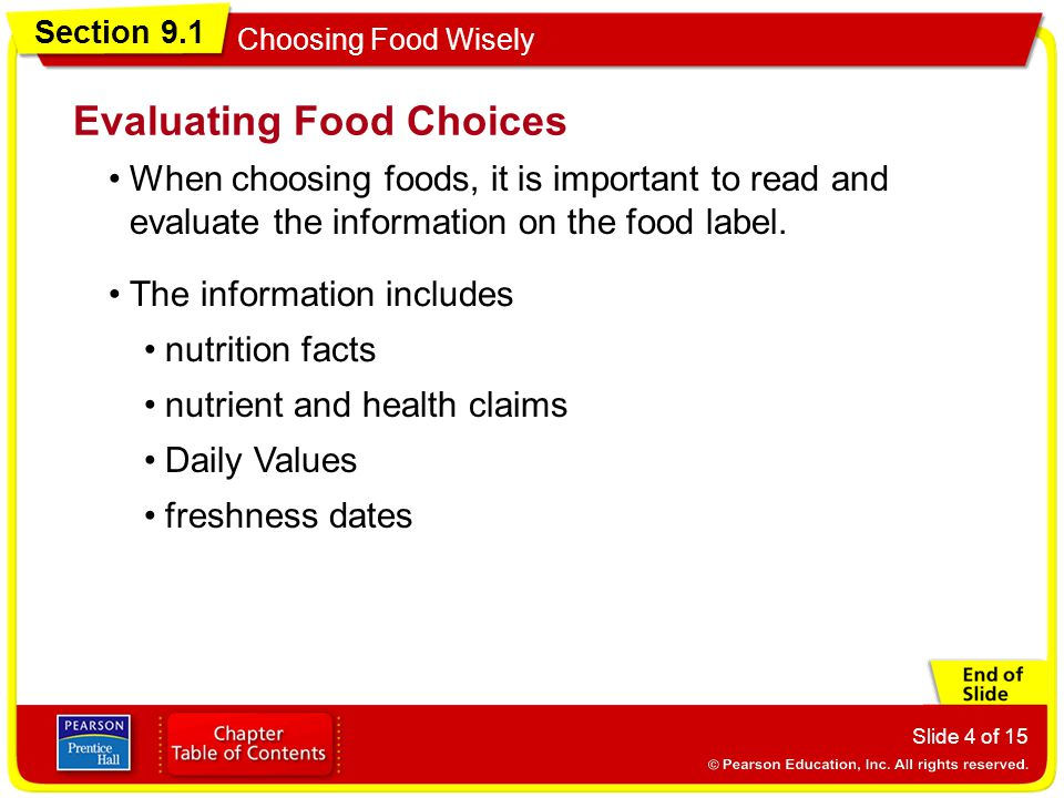 Evaluating Food Choices