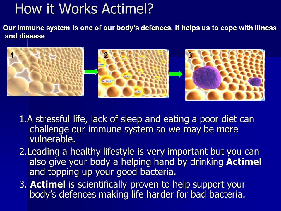 How it Works Actimel Our immune system is one of our body s defences, it helps us to cope with illness.