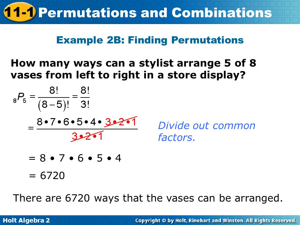 Example 2B: Finding Permutations