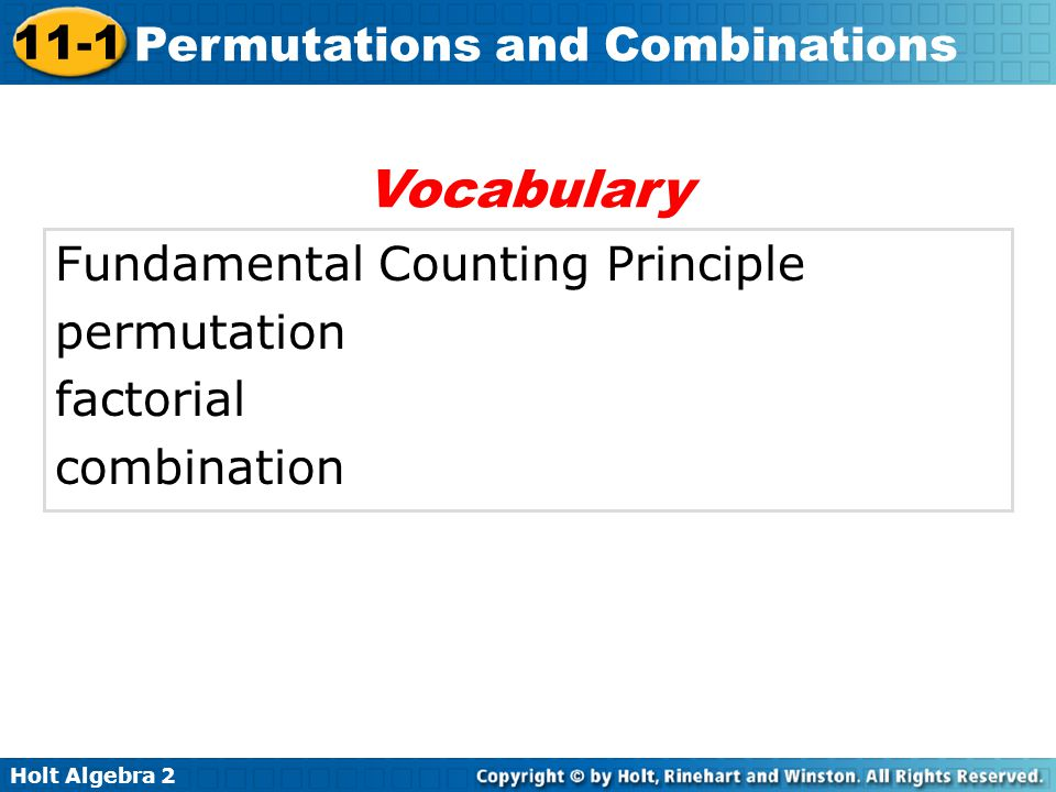 Vocabulary Fundamental Counting Principle permutation factorial
