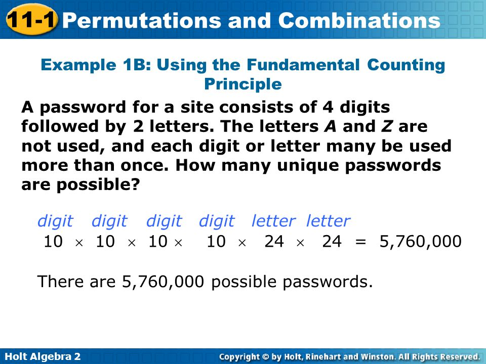 Example 1B: Using the Fundamental Counting Principle