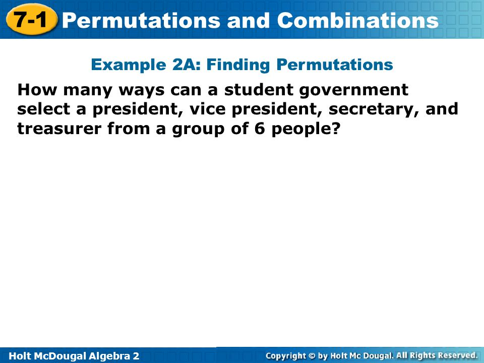 Example 2A: Finding Permutations