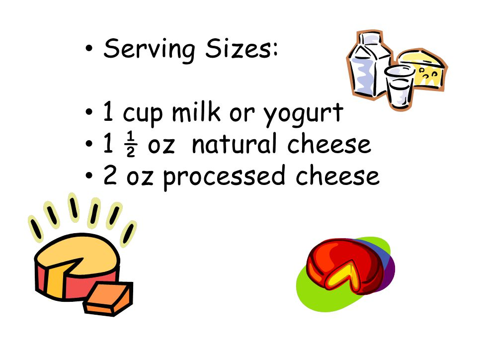 Serving Sizes: 1 cup milk or yogurt 1 ½ oz natural cheese 2 oz processed cheese