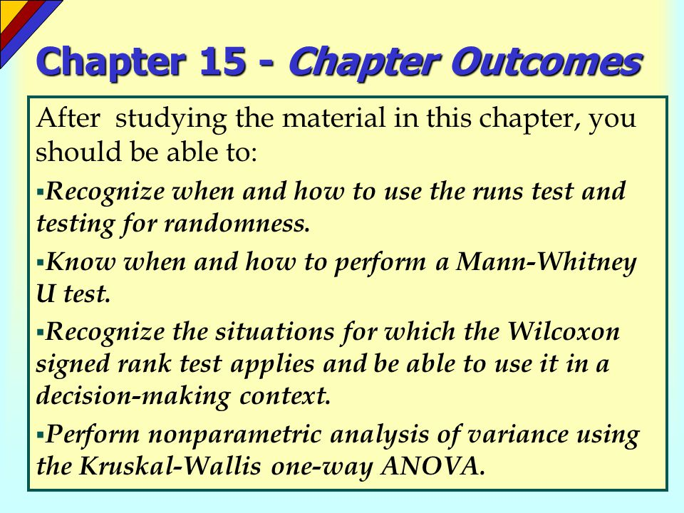 Chapter 15 - Chapter Outcomes