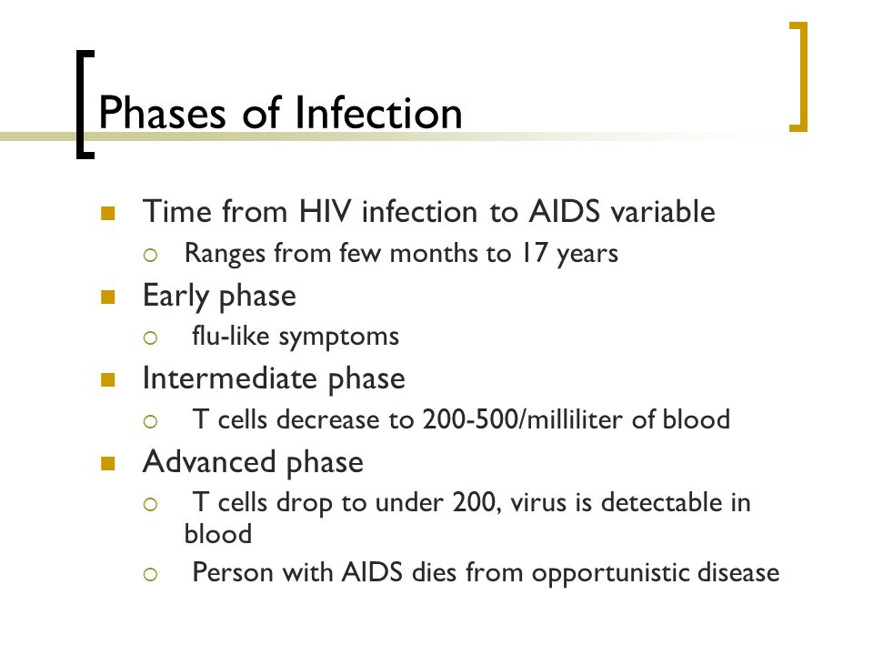 Phases of Infection Time from HIV infection to AIDS variable