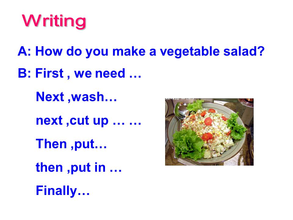 Writing A: How do you make a vegetable salad B: First , we need …