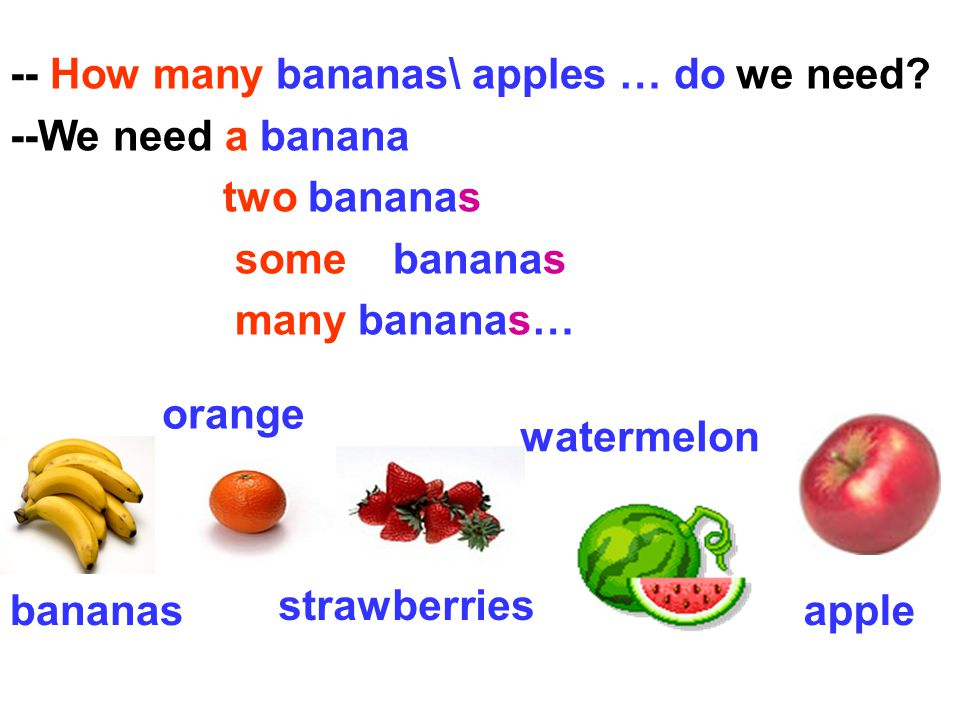 -- How many bananas\ apples … do we need --We need a banana