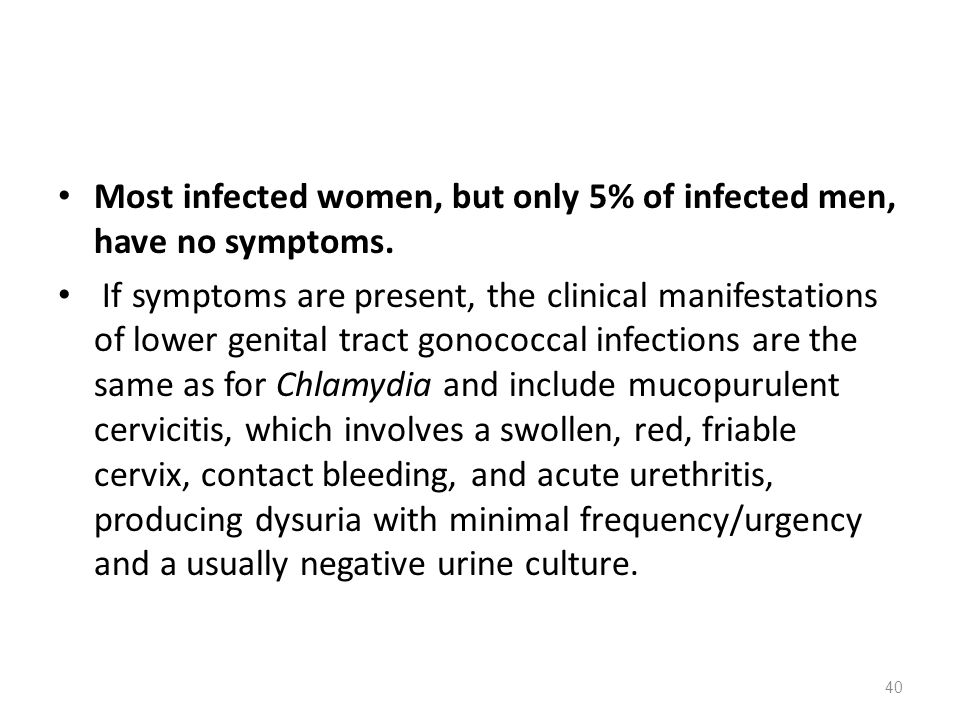 Most infected women, but only 5% of infected men, have no symptoms.
