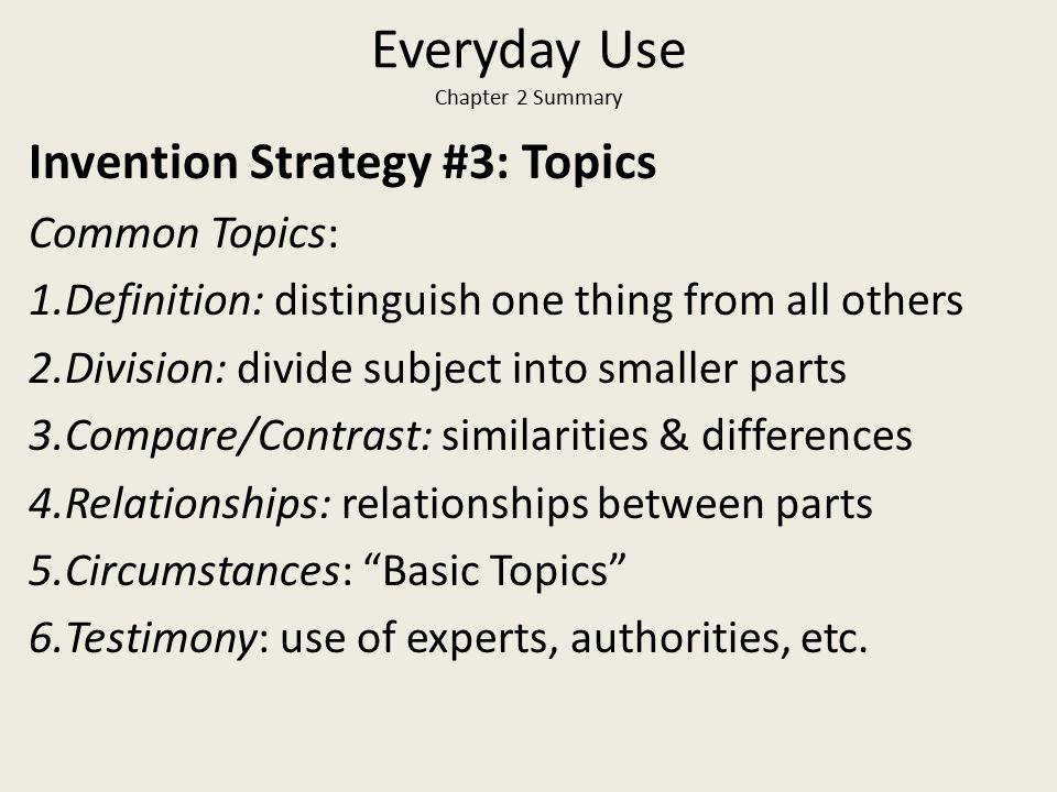 Everyday Use Chapter 2 Summary