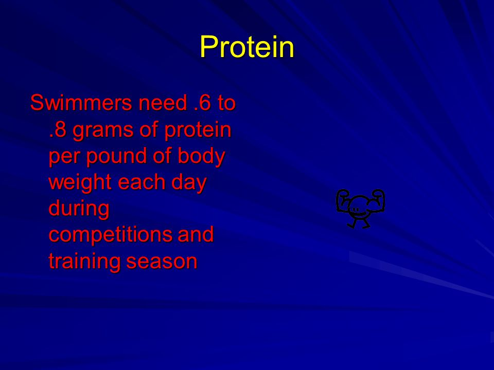 Protein Swimmers need .6 to .8 grams of protein per pound of body weight each day during competitions and training season.
