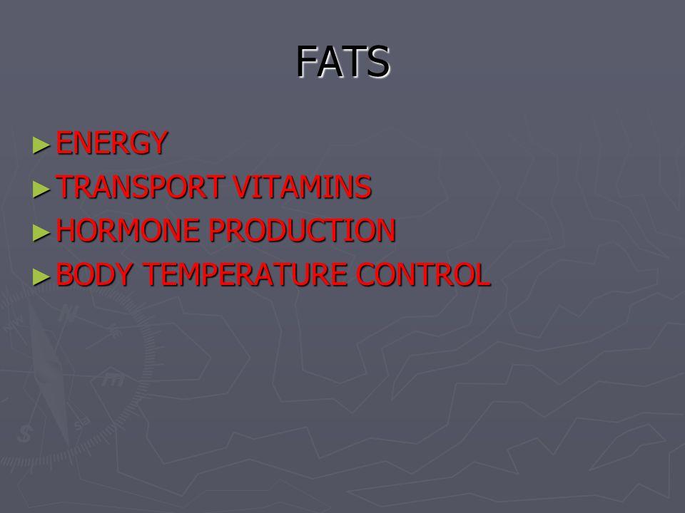 FATS ENERGY TRANSPORT VITAMINS HORMONE PRODUCTION