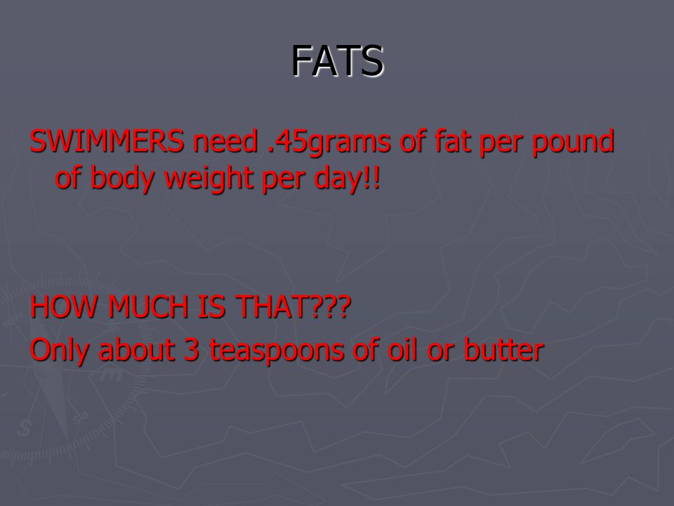 FATS SWIMMERS need .45grams of fat per pound of body weight per day!!