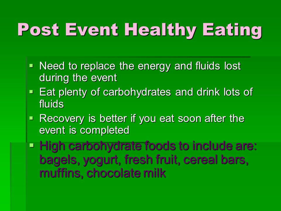 Post Event Healthy Eating