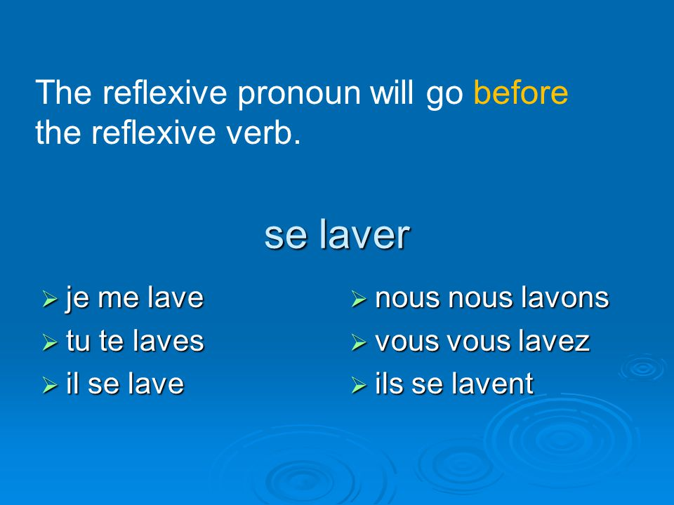 se laver The reflexive pronoun will go before the reflexive verb.
