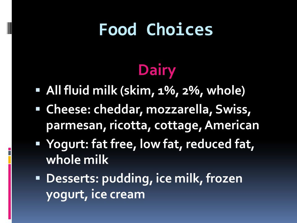 Food Choices Dairy All fluid milk (skim, 1%, 2%, whole)