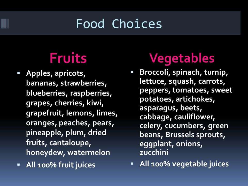 Fruits Food Choices Vegetables