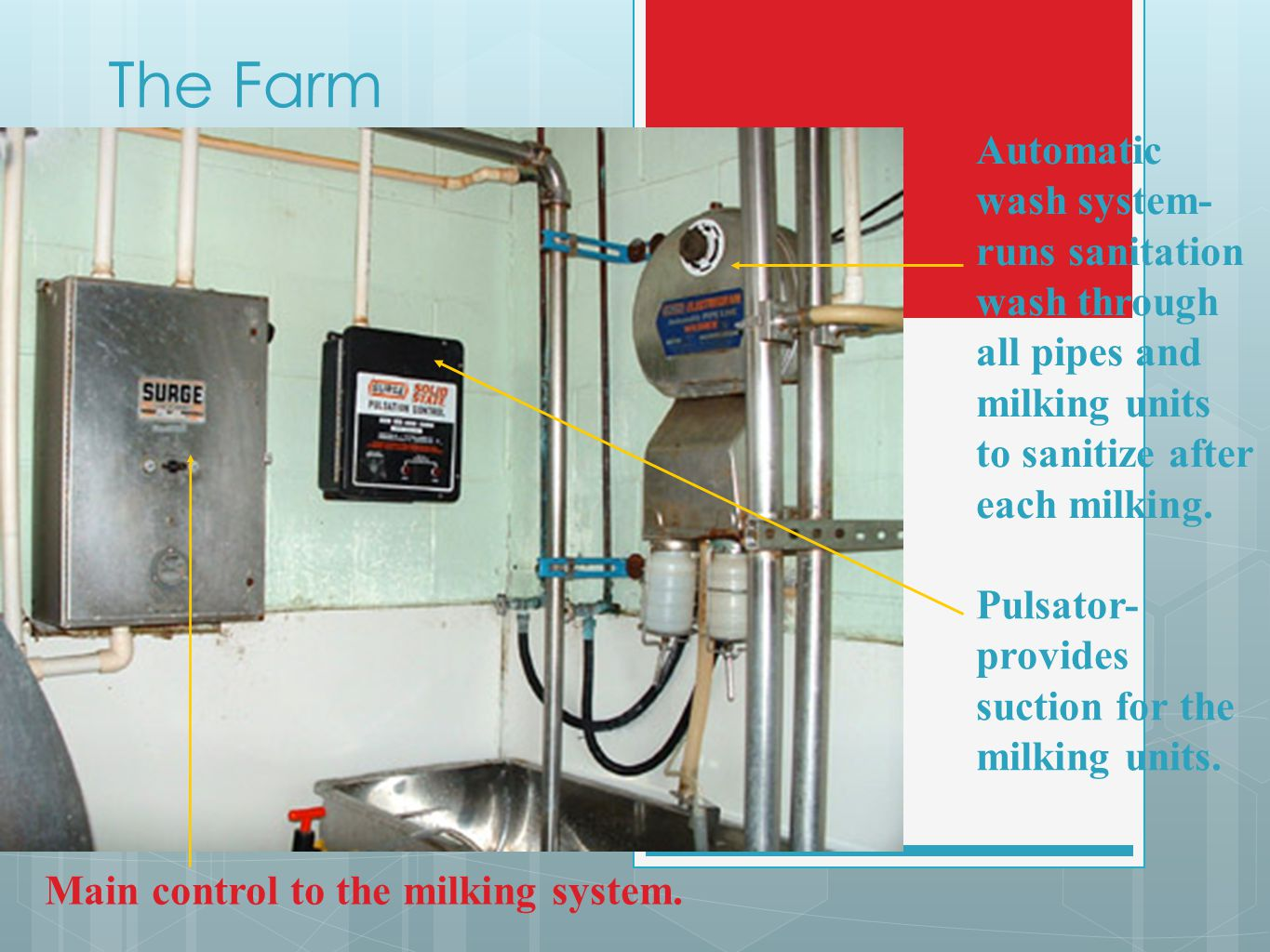 The Farm Automatic wash system- runs sanitation wash through all pipes and milking units to sanitize after each milking.