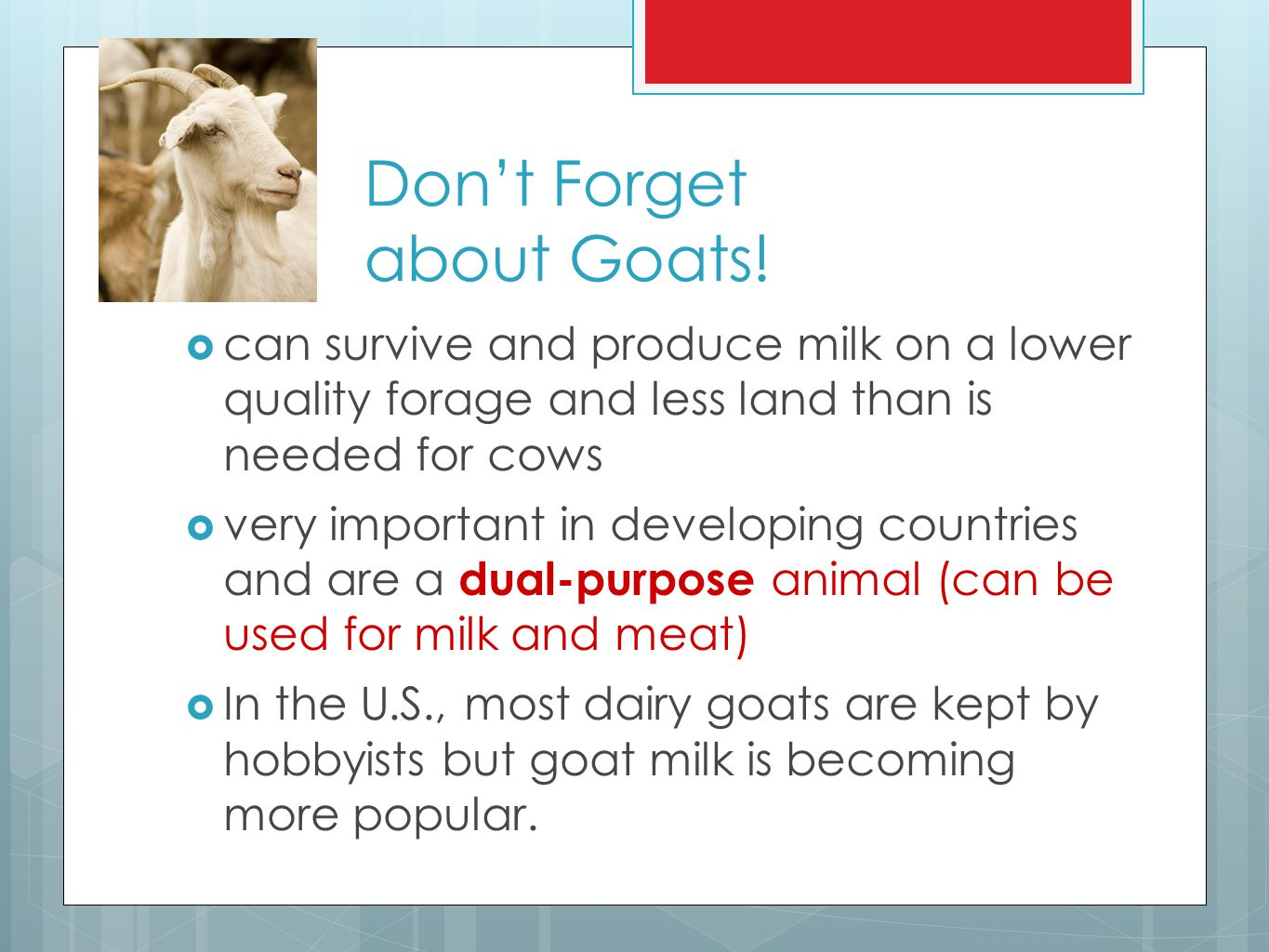 Don't Forget about Goats!