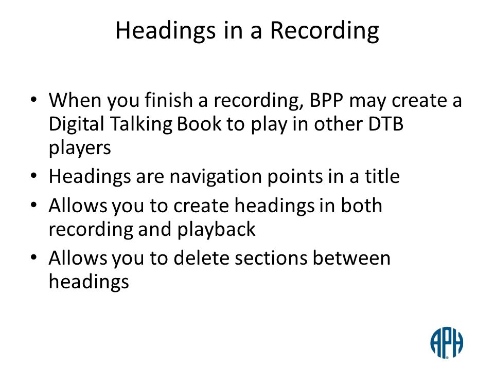 Headings in a Recording