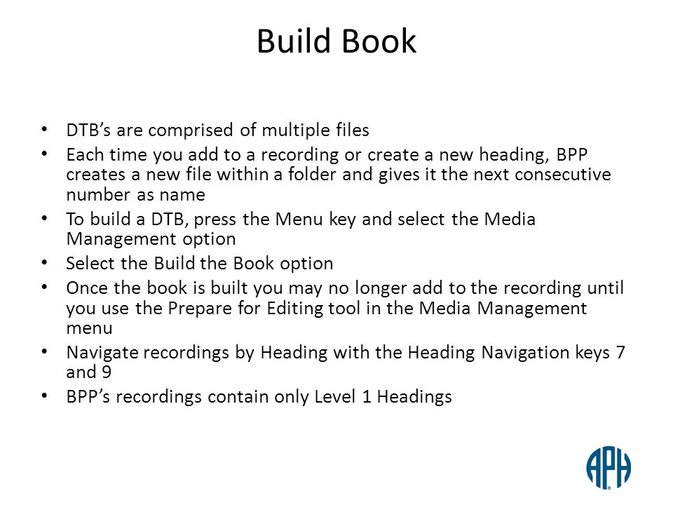 Build Book DTB's are comprised of multiple files