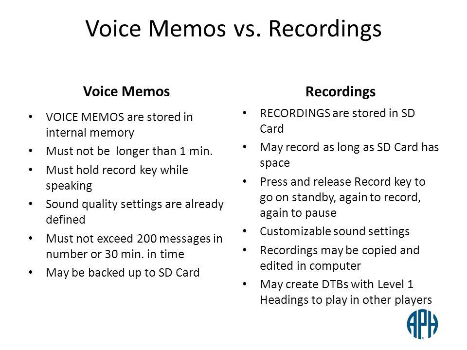 Voice Memos vs. Recordings