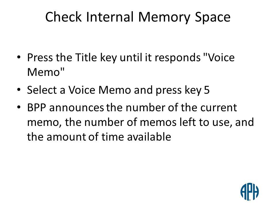 Check Internal Memory Space