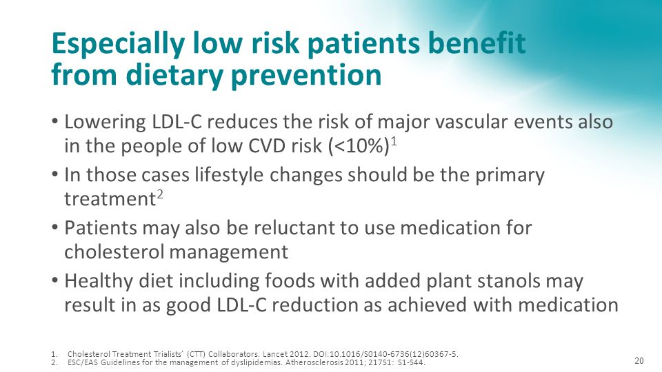 Especially low risk patients benefit from dietary prevention