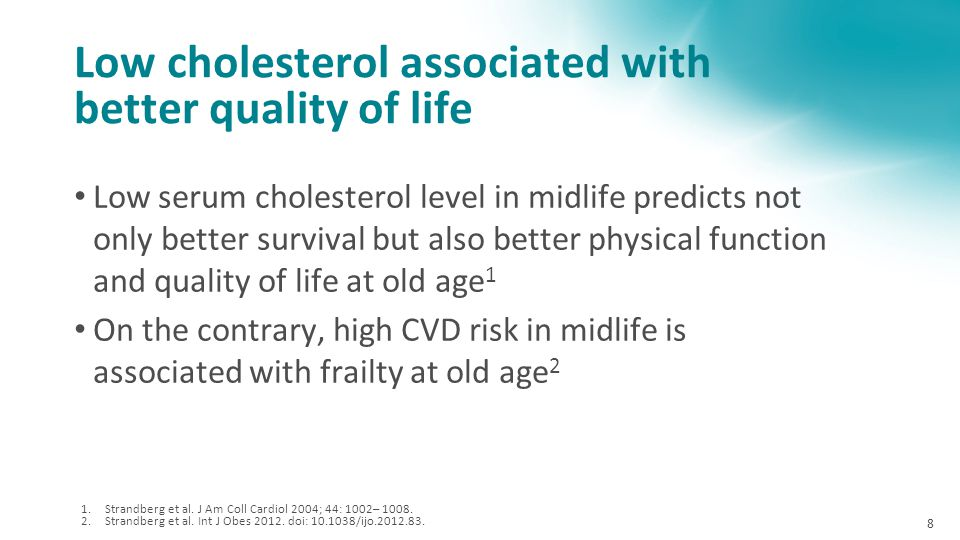 Low cholesterol associated with better quality of life
