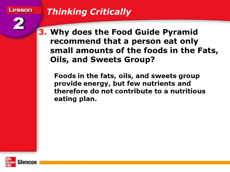 Thinking Critically Why does the Food Guide Pyramid recommend that a person eat only small amounts of the foods in the Fats, Oils, and Sweets Group