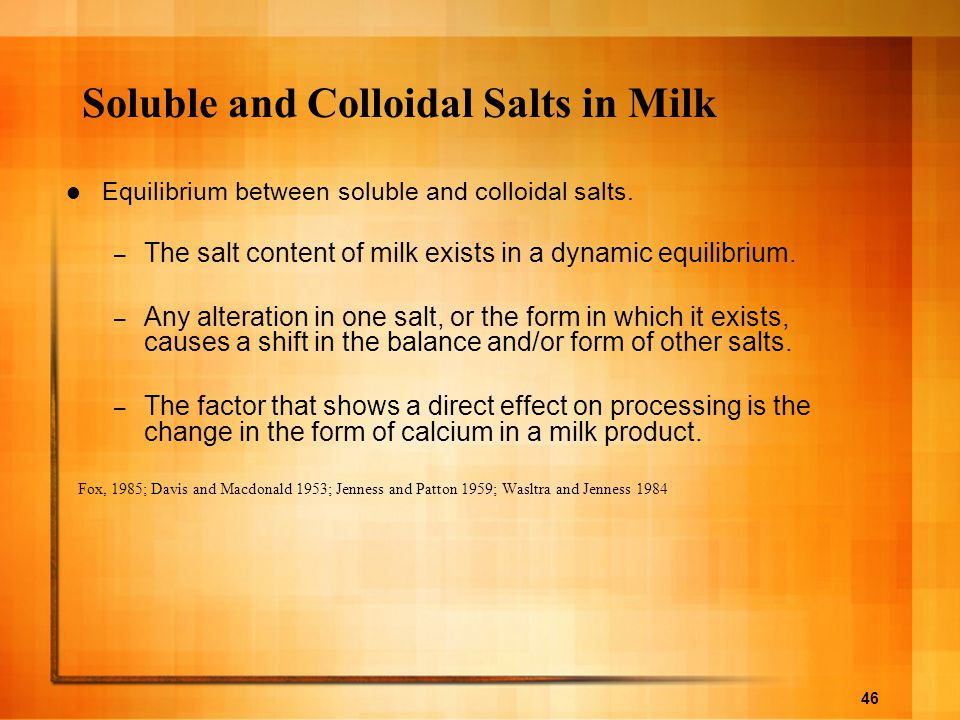 Soluble and Colloidal Salts in Milk